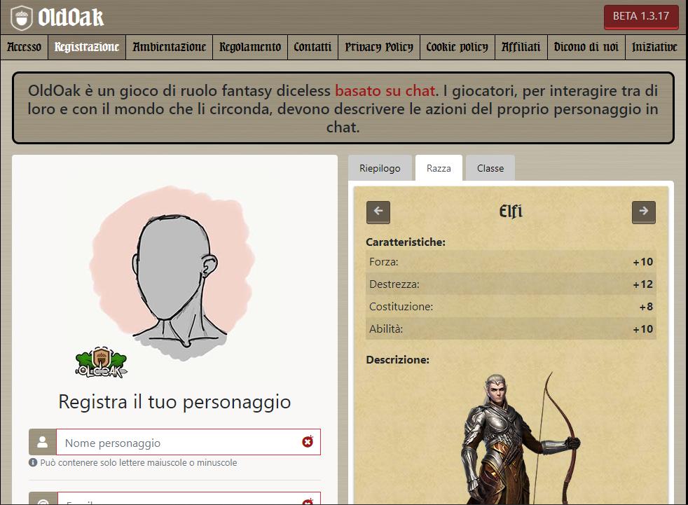 OldOak - Registrazione utente